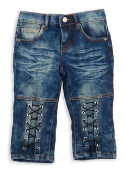 Girls 7-16 Antique Wash Lace Up Capri Jeans - 1621063400088