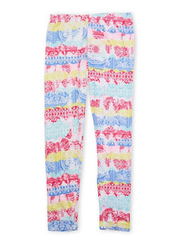 Girls 4-6x Brushed Knit Leggings with Ornate Print - 1622061950008