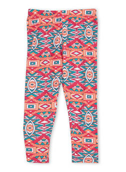 Girls 4-6x Leggings with Multicolored Print - 1622061950009