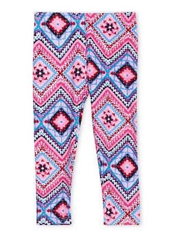 Girls 4-6x Brushed Leggings in Multicolored Print - 1622061950016