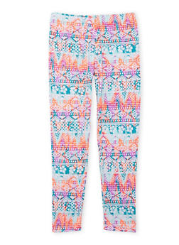 Girls 4-6x Leggings with Multicolored Aztec Print - 1622061950017