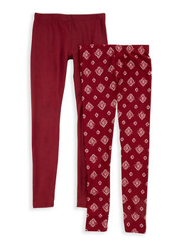 Girls 7-16 Two Pack Soft Knit Solid and Printed Leggings - 1623060580003