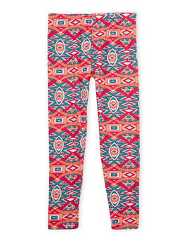 Girls 7-16 Leggings with Multicolored Print - 1623061950022