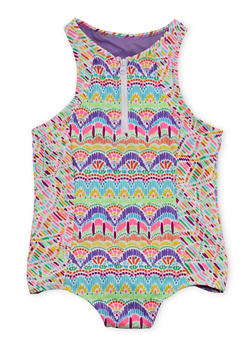 Girls 7-16 Printed Zip Front One Piece Bathing Suit - 1624055520003
