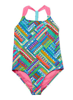 Girls 7-16 Printed One Piece Bathing Suit - 1624055520009
