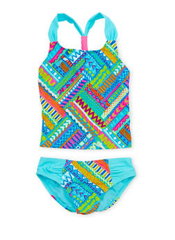 Girls 7-16 Printed Tankini Set with Y Strap Back - 1624055520010