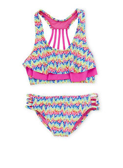Girls 7-16 Printed Flounce Bikini Set with Caging - 1624055520014