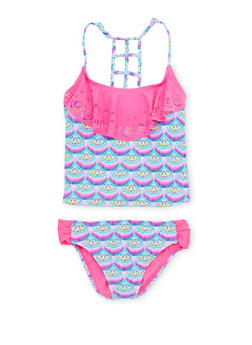 Girls 7-16 Printed Tankini Set with Solid Overlay - 1624055520020