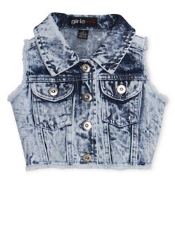 Girls 4-6x Frayed Cropped Acid Wash Denim Vest - 1626038340009