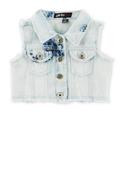 Girls 3T-6x Acid Wash Cropped Denim Vest - 1626038340011