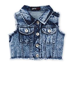 Girls 4-6x Cropped Acid Wash Denim Vest - 1626038340012