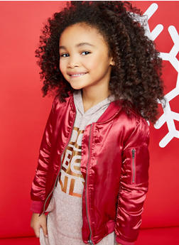Girls 4-6x Burgundy Satin Bomber Jacket - 1626038340016