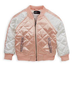 Girls 4-6x Quilted Satin Bomber Jacket - 1626038340019