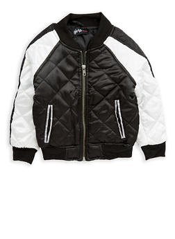 Girls 4-6x Quilted Color Block Bomber Jacket - 1626038340024