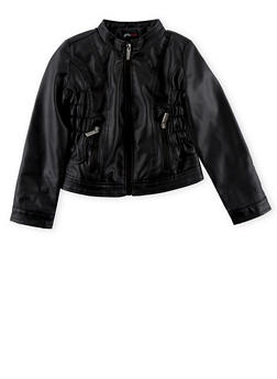 Girls 4-7 Black Crinkle Sides Faux Leather Moto Jacket - 1626051060042