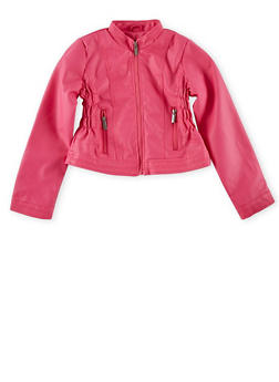 Girls 4-6x Pink Crinkle Sides Faux Leather Moto Jacket - 1626051060043