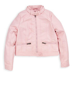 Girls 4-6x Pink Faux Leather Moto Jacket - 1626051060046