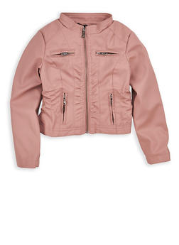 Girls 4-6x Mauve Cinched Waist Faux Leather Jacket - 1626051060051