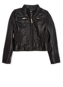 Girls 4-6X Faux Leather Jacket with Cinched Sides - 1626051060070