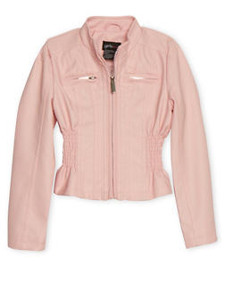 Girls 4-6X Blush Cinched Faux Leather Moto Jacket - 1626051060072