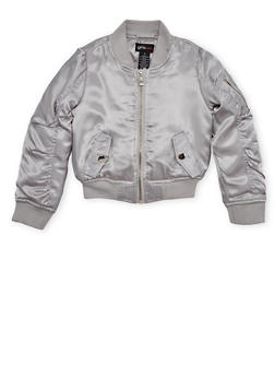 Girls 4-6x Satin Bomber Jacket with Ruched Sleeves - 1626051060504