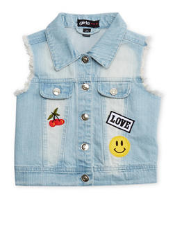 Girls 7-16 Faded Denim Frayed Vest with Patches - 1627038340014