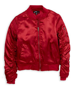 Girls 7-16 Burgundy Satin Bomber Jacket - 1627038340025