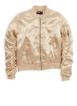 Girls 7-16 Champagne Satin Bomber Jacket - 1627038340026
