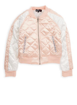 Girls 7-16 Quilted Color Block Bomber Jacket - 1627038340028
