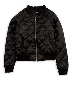Girls 7-16 Black Quilted Satin Bomber Jacket - 1627038340030