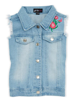 Girls 7-16 Floral Embroidered Denim Vest - 1627038340032