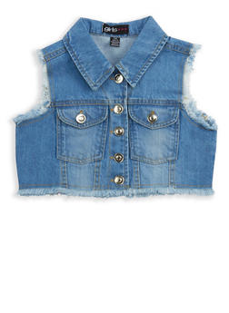 Girls 7-16 Cropped Denim Vest - 1627038340038