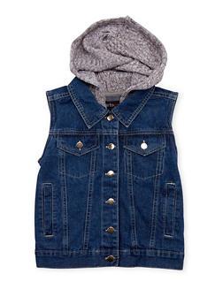 Girls 4-16 Denim Vest with Knit Hood - 1627038348709