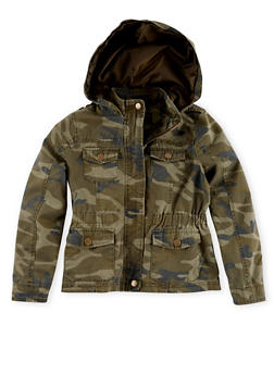Girls 7-14  Heavy Twill Camouflage Hooded Jacket - 1627051060004