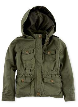 Girls 7-14 Heavy Twill Hooded Jacket - 1627051060055