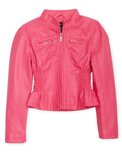 Girls 7-16 Fuchsia Faux Leather Jacket with Cinched Sides - 1627051060071