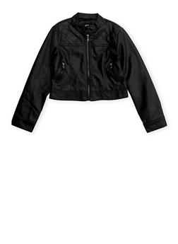 Girls 7-16 Faux Leather Moto Jacket with Quilted Panel - 1627051060076