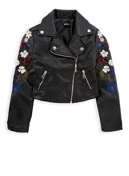 Girls 7-16 Embroidered Black Faux Leather Jacket - 1627051060080