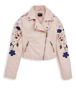 Girls 7-16 Embroidered Mauve Faux Leather Jacket - 1627051060081