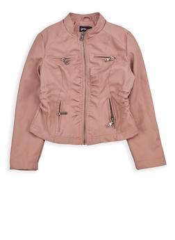 Girls 7-16 Cinched Waist Faux Leather Jacket - 1627051060087
