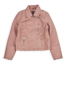Girls 7-16 Mauve Faux Leather Moto Jacket - 1627051060091