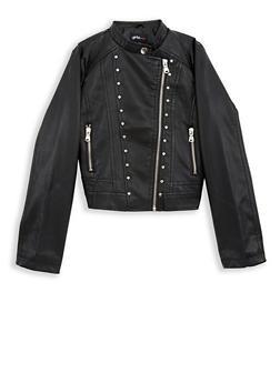 Girls 7-16 Studded Side Zip Faux Leather Jacket - 1627051060097