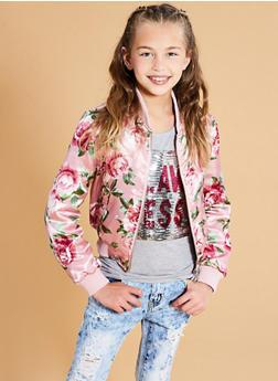 Girls 7-16 Satin Floral Bomber Jacket - 1627051060100