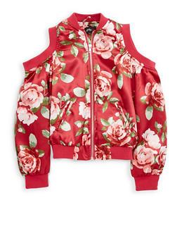 Girls 7-16 Floral Cold Shoulder Bomber Jacket - 1627051060101