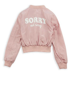 Girls 7-16 Sorry Not Sorry Graphic Bomber Jacket - 1627051060103