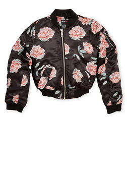 Girls 7-16 Satin Bomber Jacket with Floral Print and Flap Pockets - 1627051067007