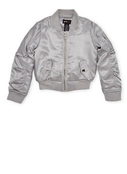 Girls 7-16 Satin Bomber Jacket with Ruched Sleeves - 1627051067008