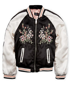Girls 7-16 Satin Bomber Jacket with Floral Embroidery - 1627051067015