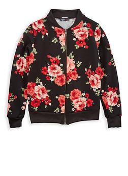 Girls 7-16 Black Floral Print Baseball Jacket - 1627061950001