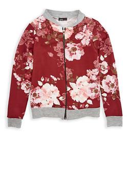 Girls 7-16 Floral Crepe Knit Jacket - 1627061950002